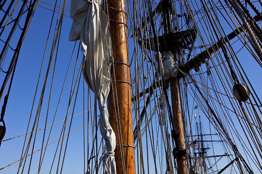 Blue Sky Photograph - Tall Ship Rigging Lady Washington by Garry Gay