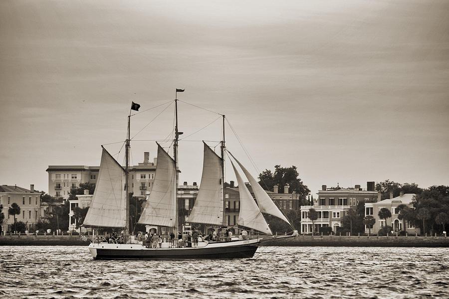 Tall Ship Photograph - Tall Ship Schooner Pride Off The Historic Charleston Battery by Dustin K Ryan