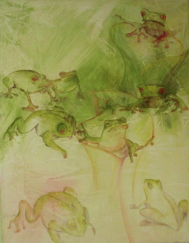 Delightful Whimsical Acrylic Painting Of Many Frogs Playing About In An Abstracted Landscape.  Of Appeal To The Conservationist And Persons Concerned About The Fact That Frogs Are Dying About The World.  Hues Of Reds Yellows And Greens Painting - Tamalpais Spring by Georgia Annwell