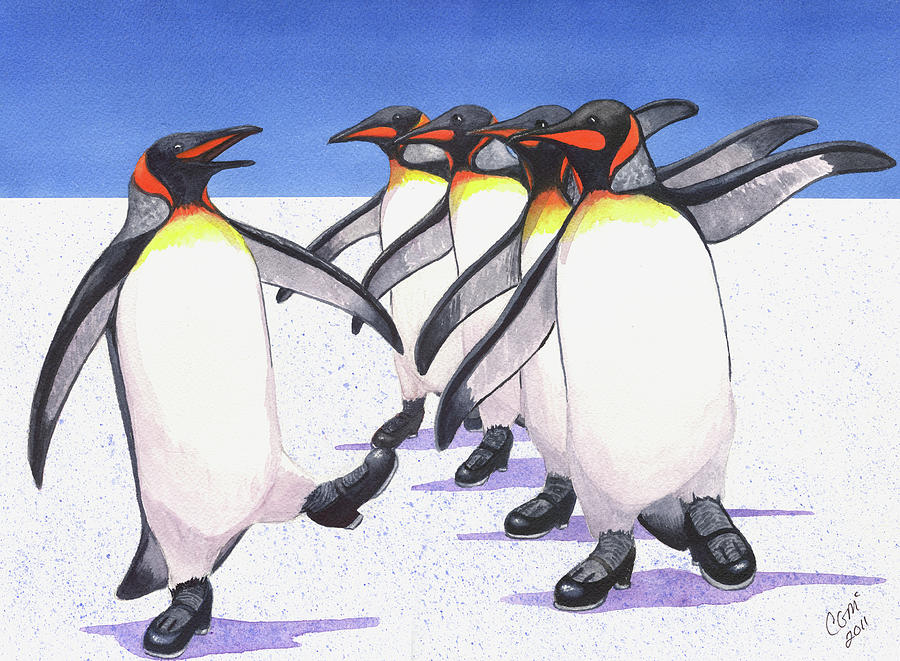 Penguin Painting - Tappity Tap by Catherine G McElroy