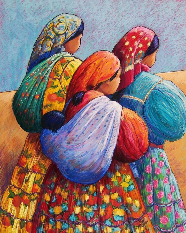 Mexico Pastel - Tarahumara Women by Candy Mayer