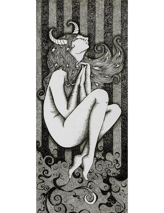 Dark Drawing - Taurus by Zelde Grimm