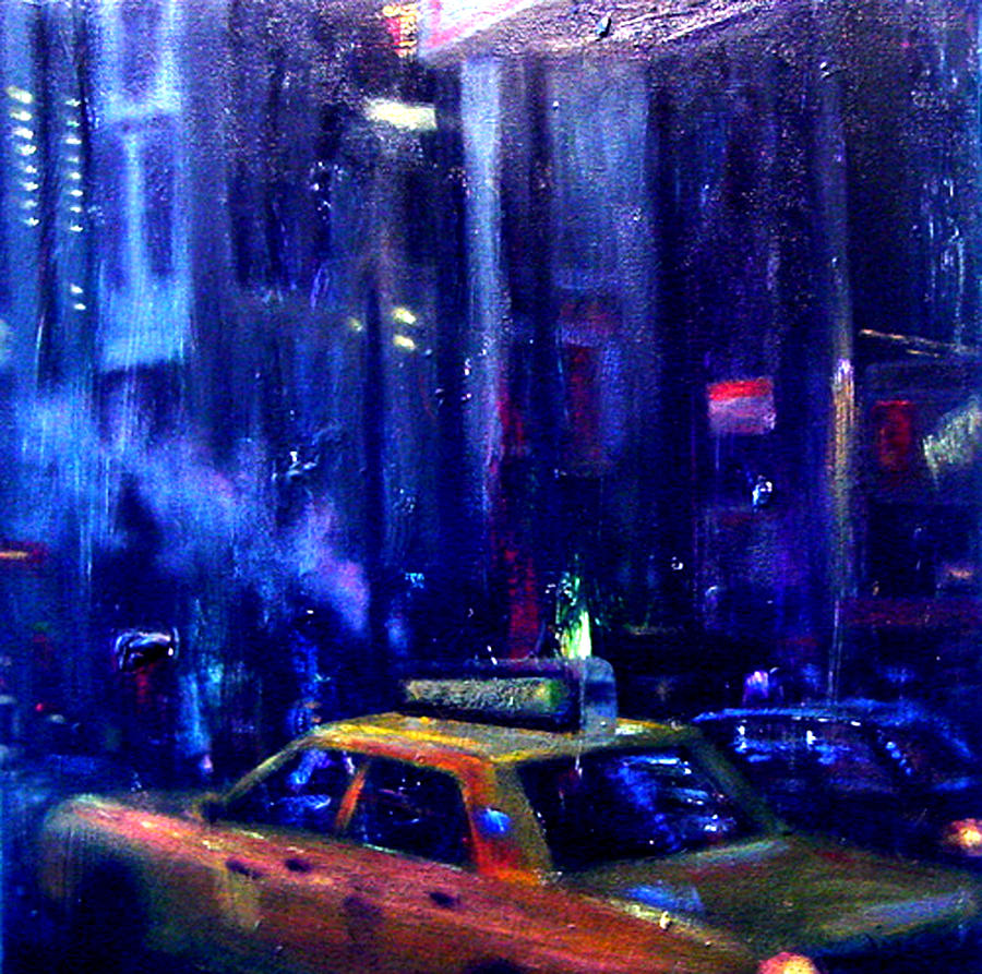 New York Taxi Street City Canvas Wall Art Picture Print Va: Taxi Cab Confessions Painting By Allan Linder