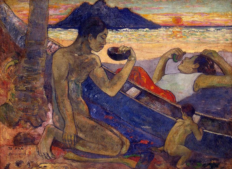 Te Vaa, The Canoe Painting by Paul Gauguin