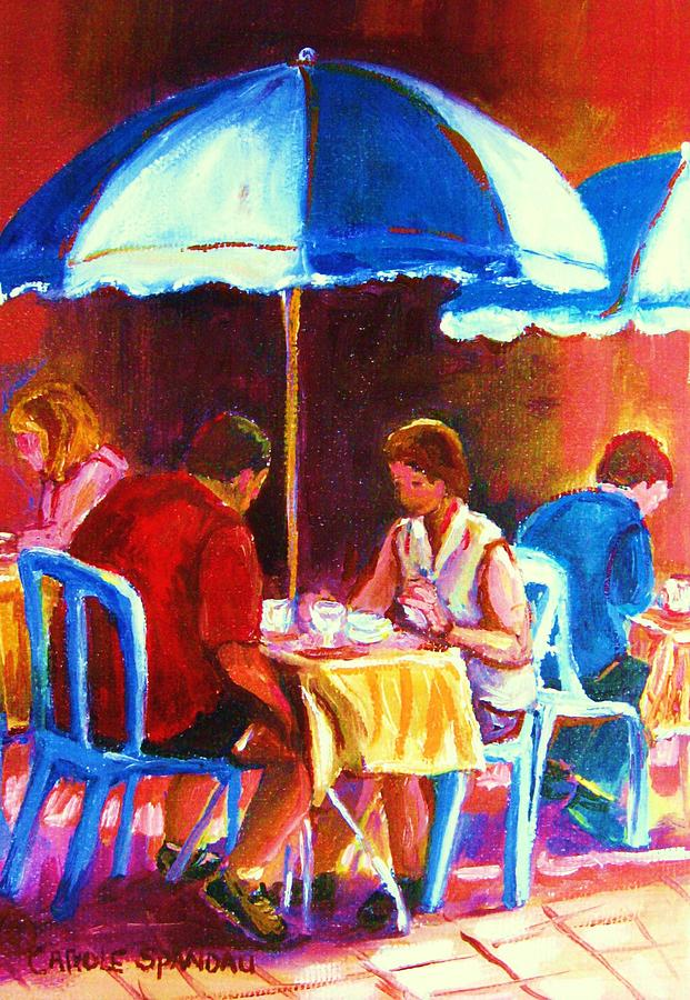 St. Denis Outdoor Cafe Montreal Street Scenes Painting - Tea For Two by Carole Spandau