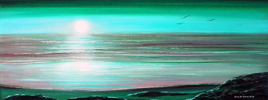 Sunsets Painting - Teal Panoramic Sunset by Gina De Gorna