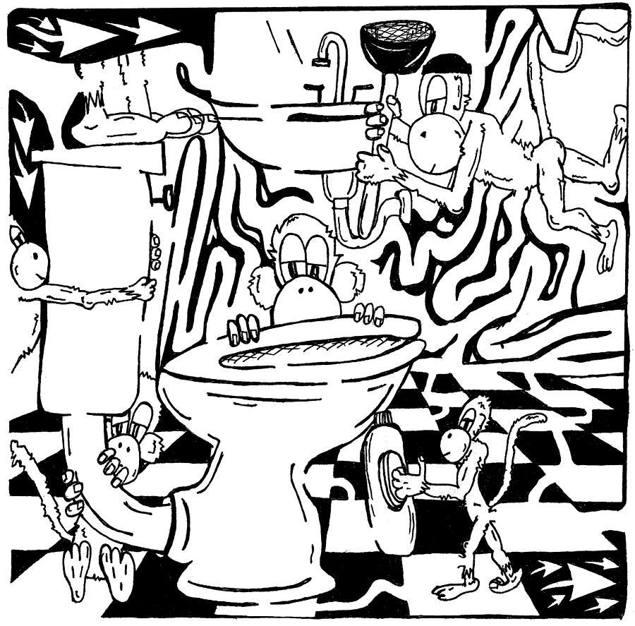 Team Of Monkeys Drawing - Team Of Monkeys Plumbers Maze by Yonatan Frimer Maze Artist