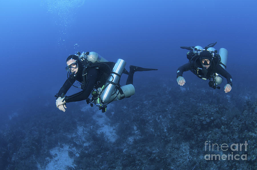 Caribbean Sea Photograph - Technical Divers With Equipment by Karen Doody