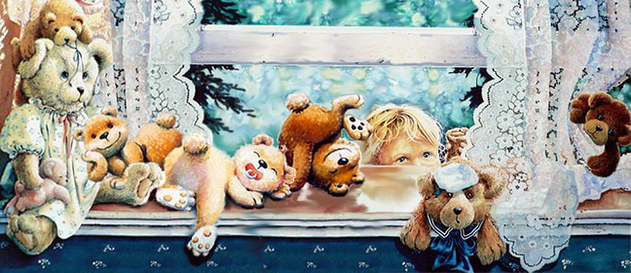 Baby Room Art Painting - Teddy Tricks by Hanne Lore Koehler