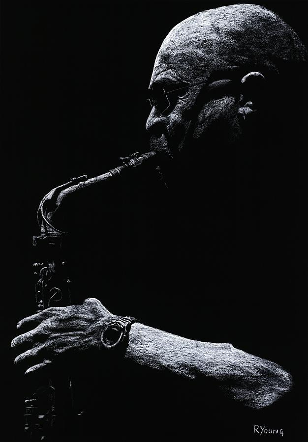 Musician Pastel - Temperate Sax by Richard Young