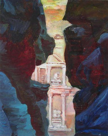 Temple At Petra Painting
