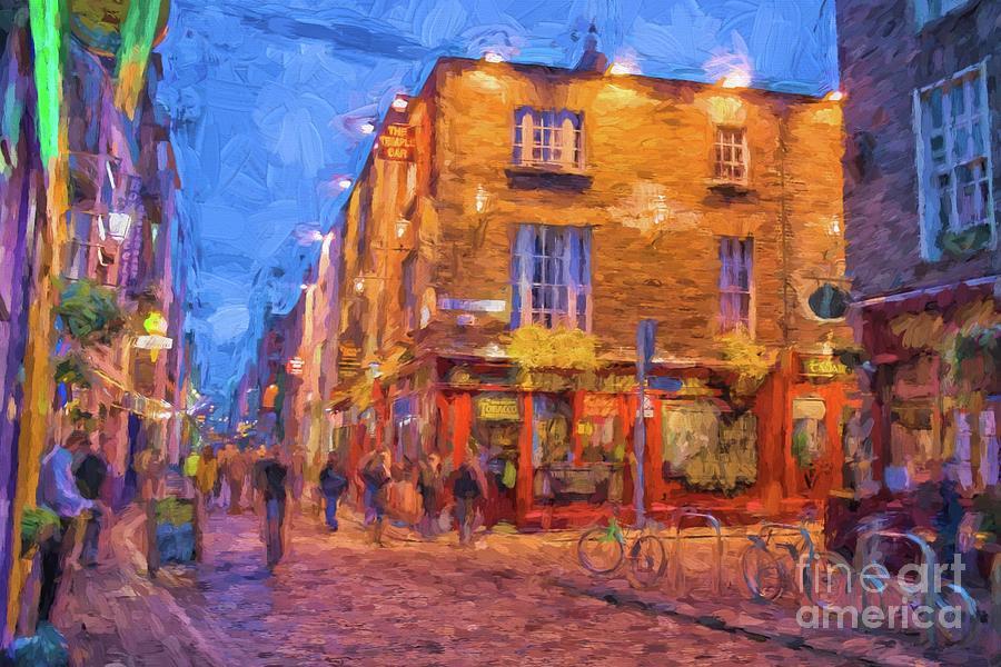 Temple Bar Area In Dublin Digital Art