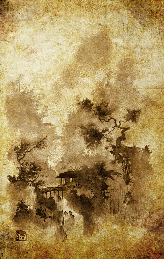 Chinese Landscape Painting - Temple Bridge -altered by Sean Seal