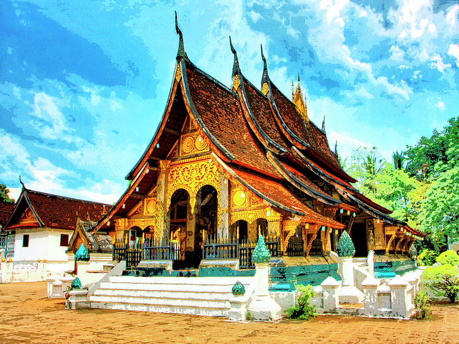 Temple In Laos Mixed Media by Dominic Piperata