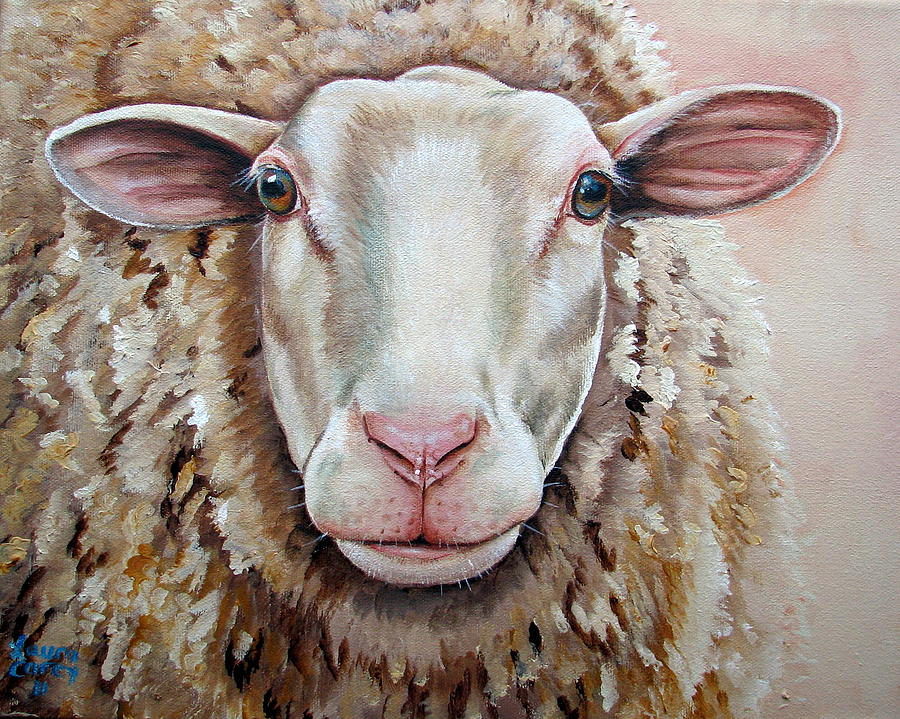 Sheep Painting - Temple by Laura Carey