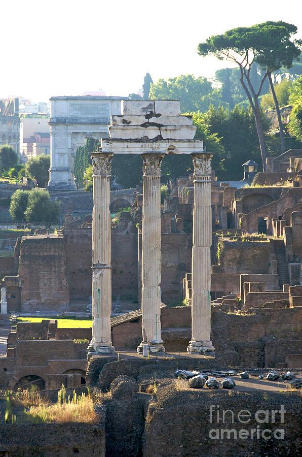 Worth Photograph - Temple Of Vesta Arch Of Titus. Temple Of Castor And Pollux. Forum Romanum by Bernard Jaubert