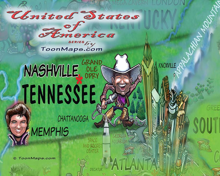 Tennessee Fun Map Digital Art