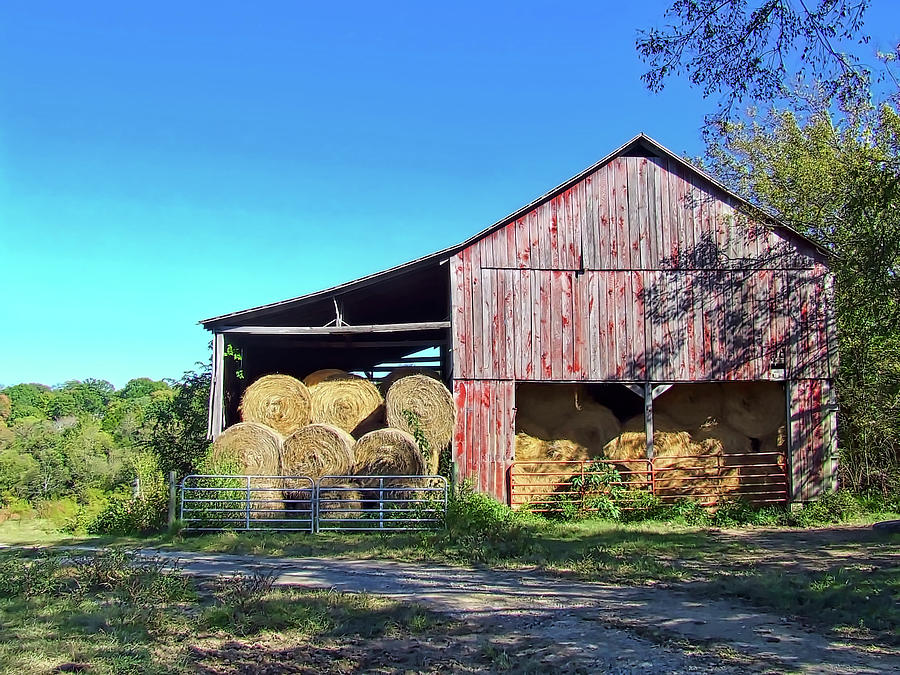 Shadows Photograph - Tennessee Hay Barn by Richard Gregurich