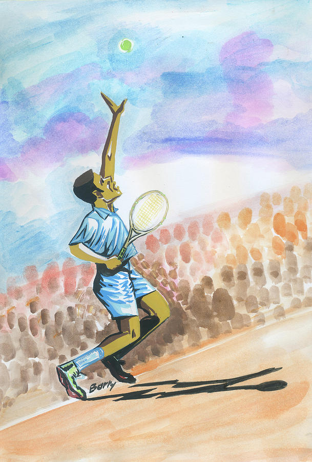 Sports Painting - Tennis 02 by Emmanuel Baliyanga
