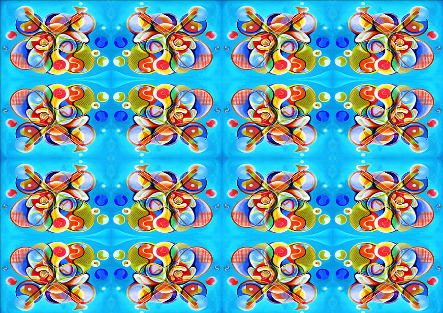 Fabric Pattern Created From Original Painting Tapestry - Textile - Tennis 2 by Ky Wilms