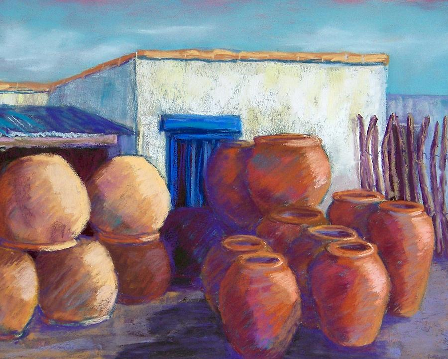 Landscape Pastel - Terracotta Pots by Candy Mayer