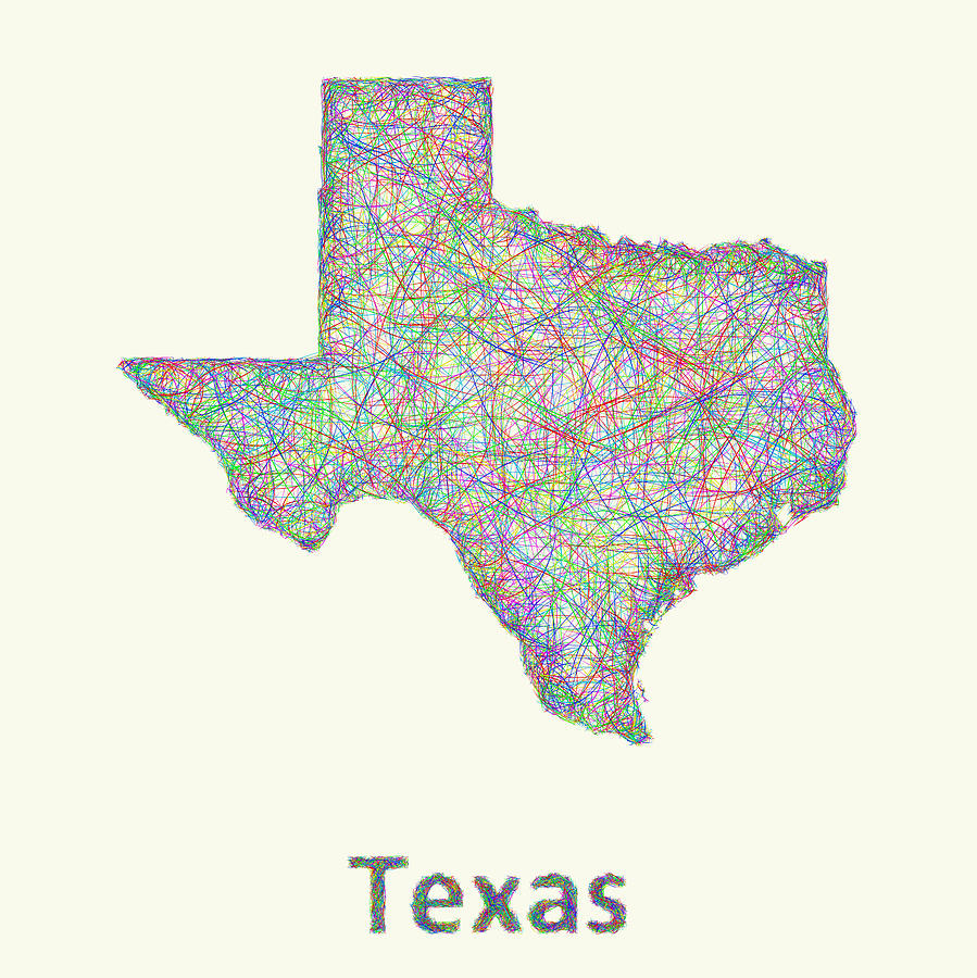 Texas Line Art Map Drawing By David Zydd
