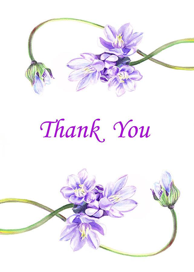 thank you purple flowers painting by irina sztukowski