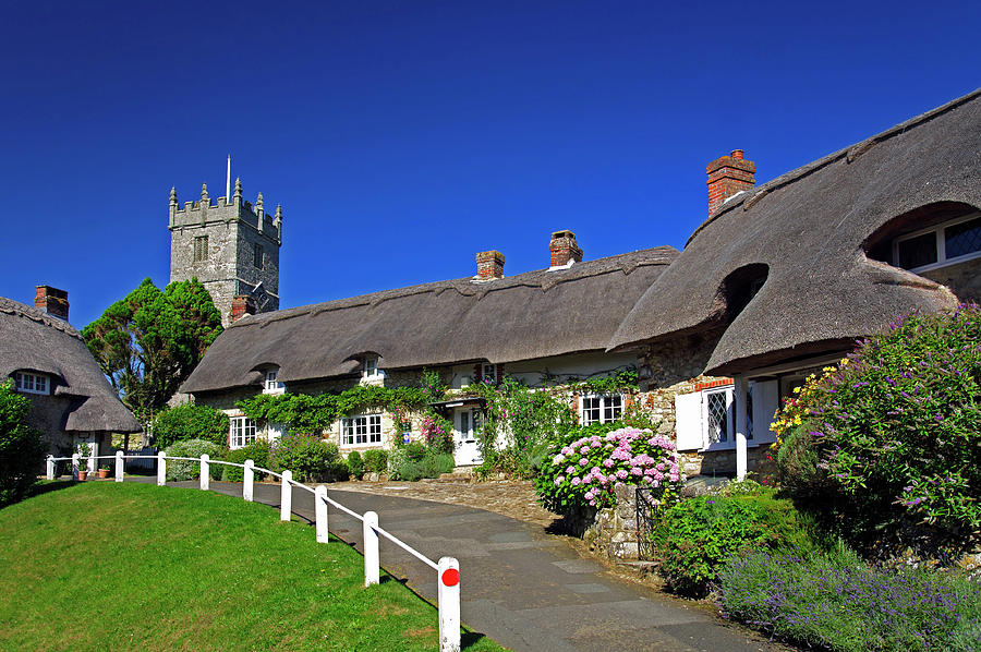 Thatched Cottages And Church - Godshill Photograph