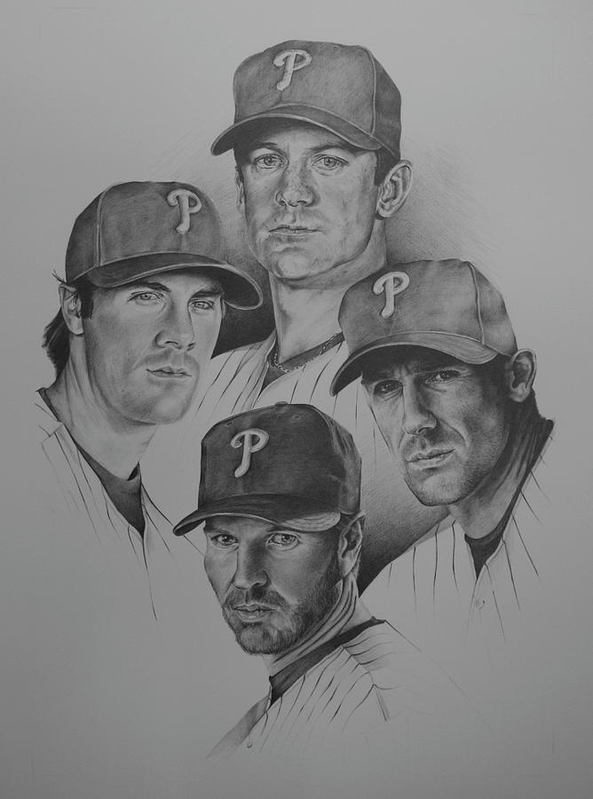 Mlb Major League Baseball Drawing - The 4 Aces by Paul Autodore