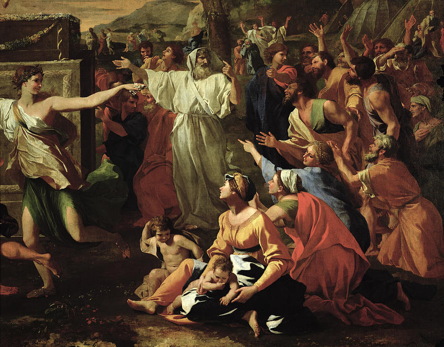 The Painting - The Adoration Of The Golden Calf by Nicolas Poussin