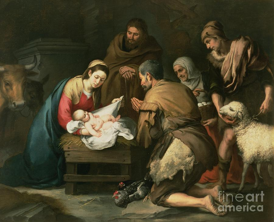 Adoration Painting - The Adoration Of The Shepherds by Bartolome Esteban Murillo