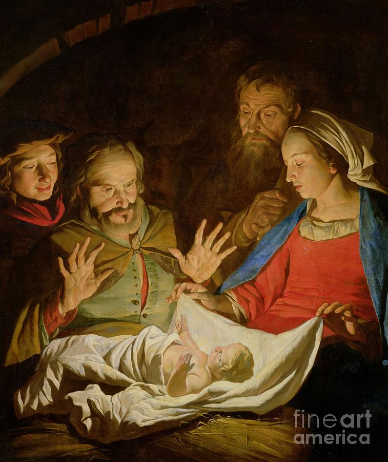 The Adoration Of The Shepherds (oil On Canvas) Painting - The Adoration Of The Shepherds by Matthias Stomer