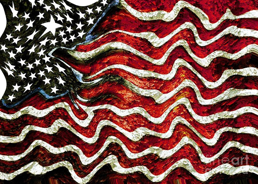 Patriot Mixed Media - The American Flag by Mimo Krouzian