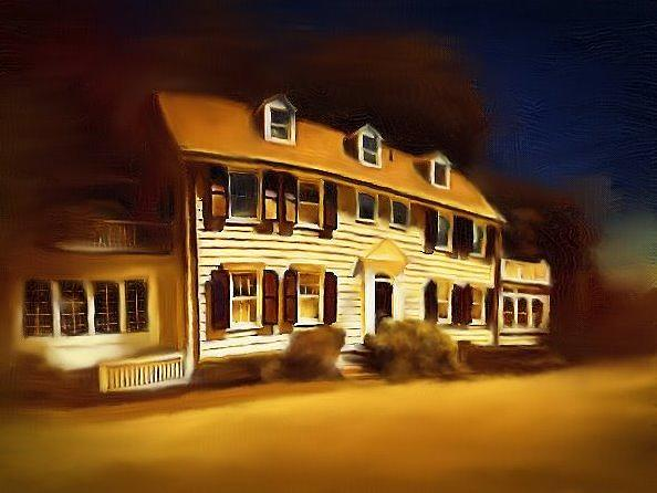 The Amityville Horror House Horror Movie Classic Film The Devoe Family New York Top 50 Most Haunted Location Murder True Story Dark Gothic Colors On Lake Digital Art - The Amityville House by Robert Smerecki
