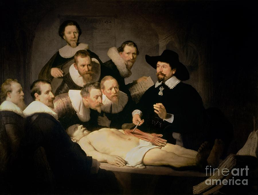 The Painting - The Anatomy Lesson Of Doctor Nicolaes Tulp by Rembrandt Harmenszoon van Rijn