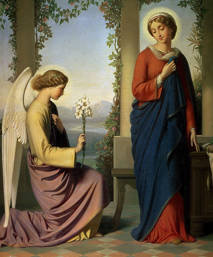 Lily; Angel; Loggia; Spinning; Spindle; School Of Ingres Painting - The Angelic Salutation by Eugene Emmanuel Amaury-Duval