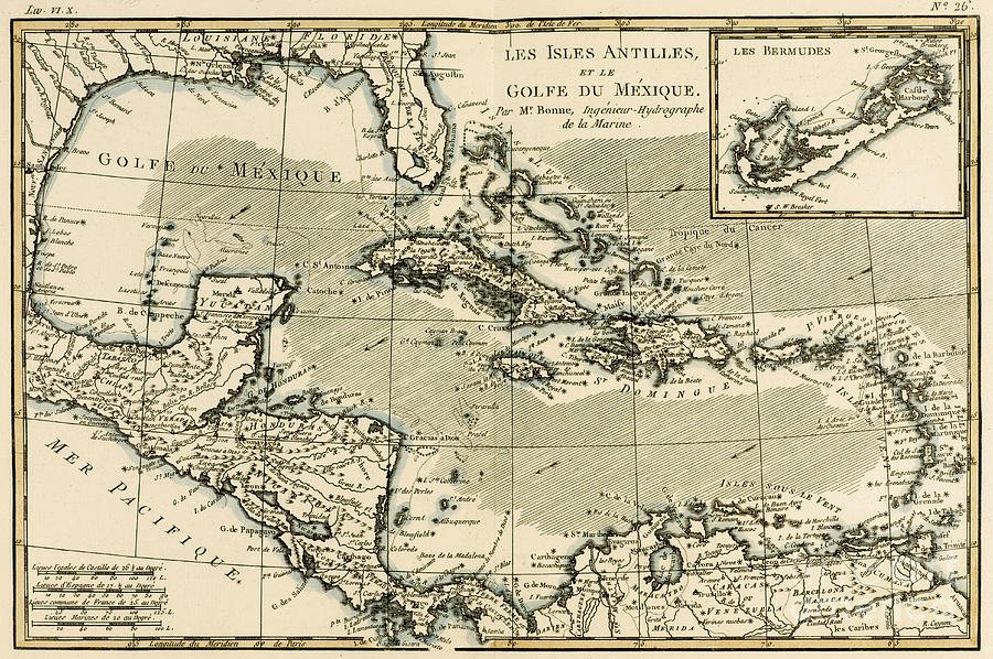 The Antilles And The Gulf Of Mexico Drawing
