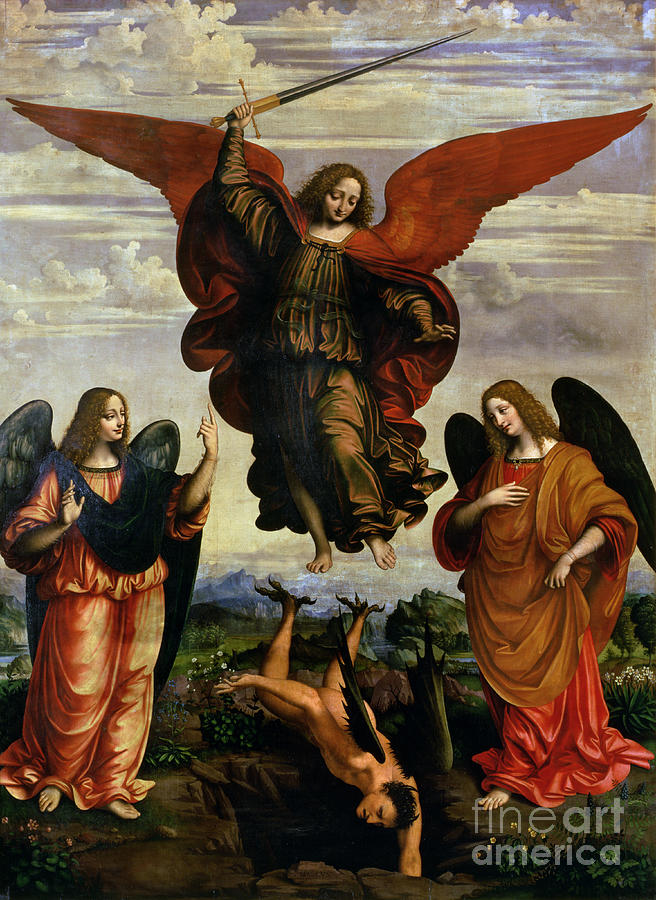 The Painting - The Archangels Triumphing Over Lucifer by Marco DOggiono