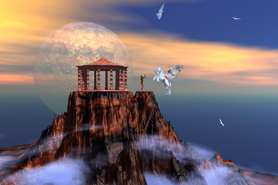 Bryce Digital Art - The Arrival Of Pegasus by Claude McCoy