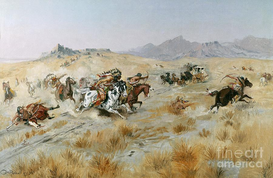 Bows Painting - The Attack by Charles Marion Russell