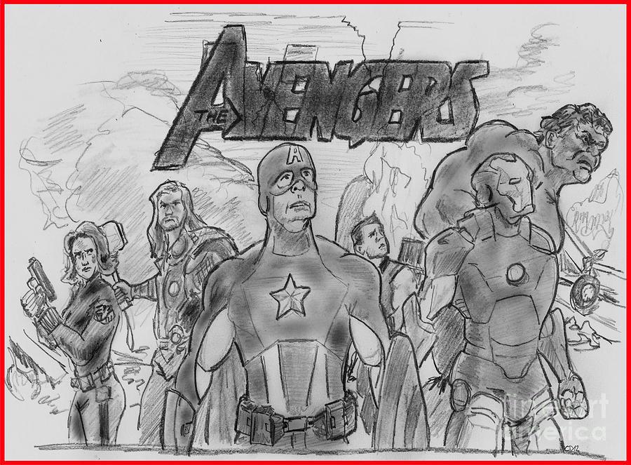 Avengers Drawing - The Avengers by Chris  DelVecchio