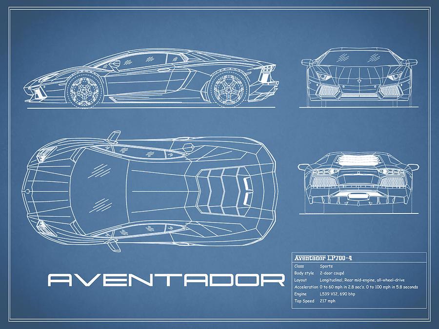 The Aventador Blueprint Photograph By Mark Rogan