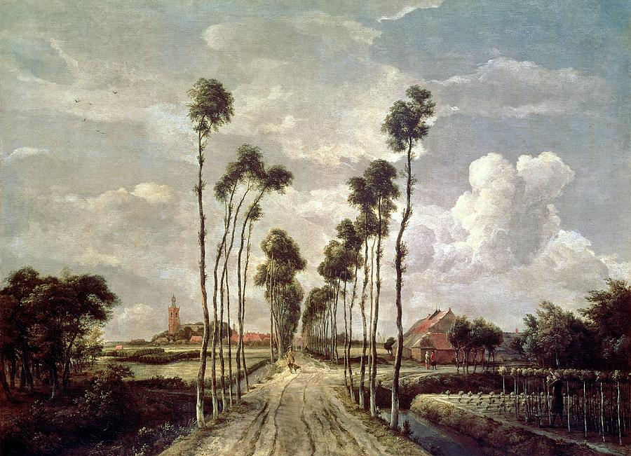 The Painting - The Avenue At Middelharnis by Meindert Hobbema