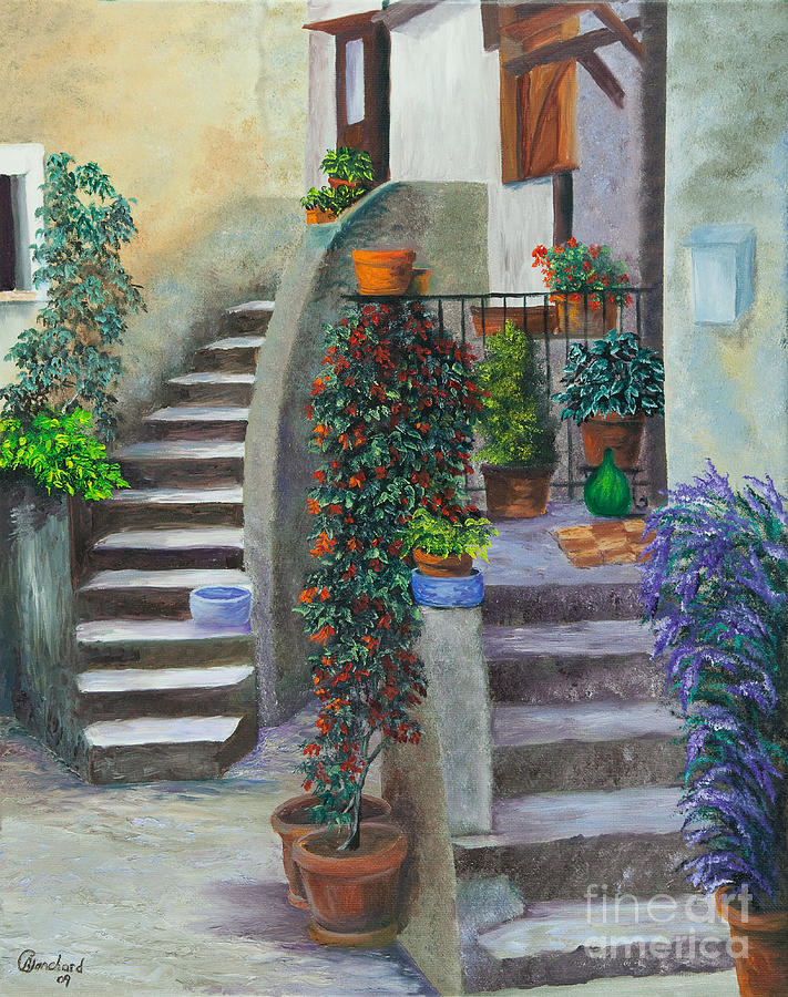 Italy Street Painting Painting - The Back Stairs by Charlotte Blanchard