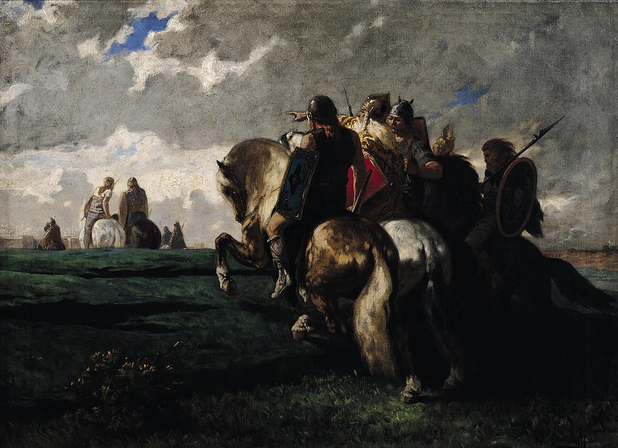 The Painting - The Barbarians Before Rome by Evariste Vital  Luminais