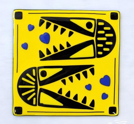 Fused Glass Glass Art - The Bart Brothers After The Hearts by Andrew Tillinghast