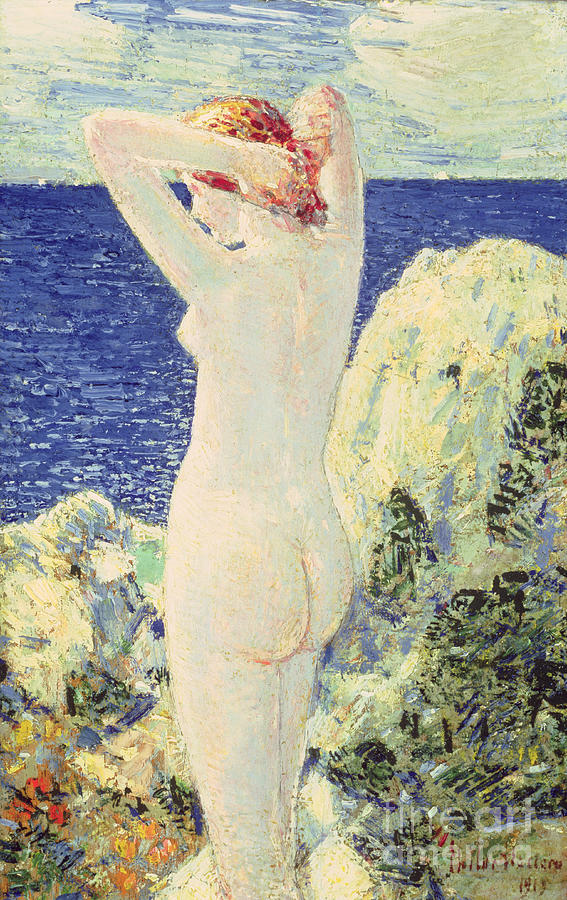 Nude Painting - The Bather by Childe Hassam