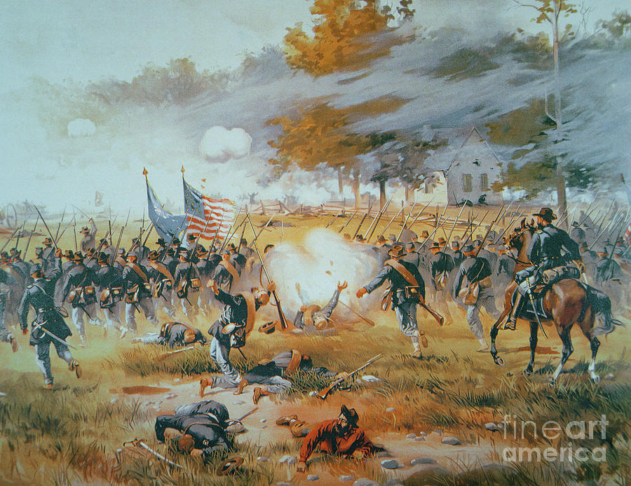 The Battle Of Antietam Painting - The Battle Of Antietam by Thure de Thulstrup