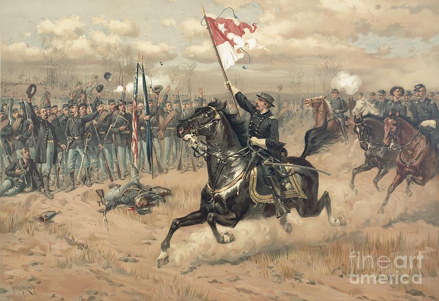 Sheridan's Famous Ride At The Battle Of Cedar Creek Virginia In 1864 (colour Litho) By Thure De Thulstrup (1848-1930) Painting - The Battle Of Cedar Creek Virginia by Thure de Thulstrup