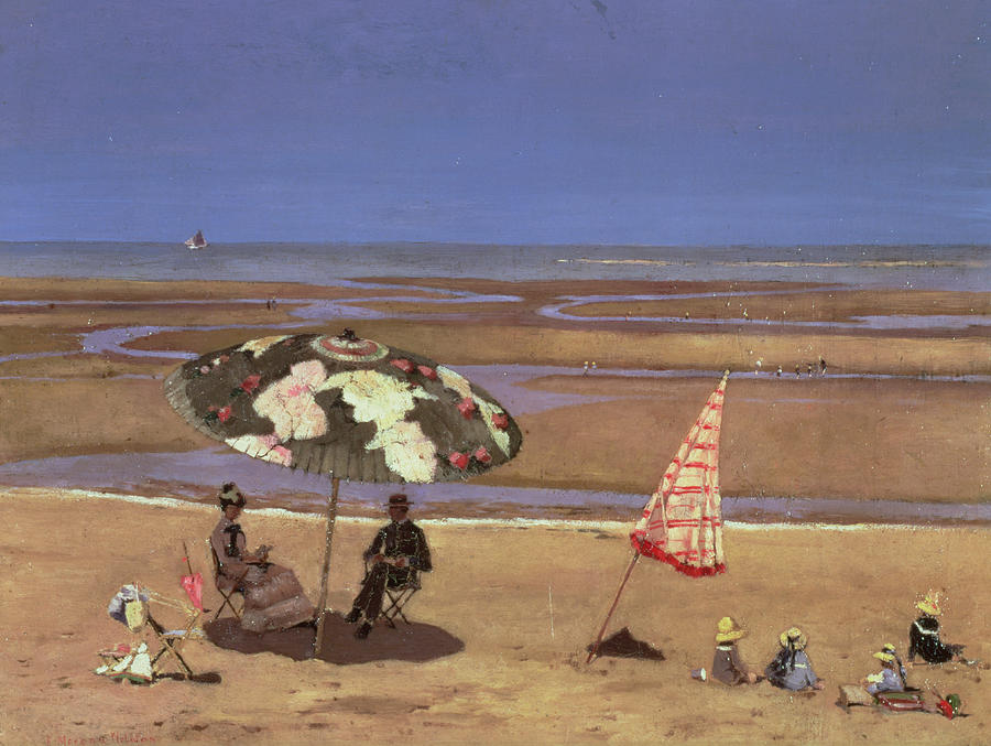 Bay Painting - The Beach by Etienne Moreau Nelaton
